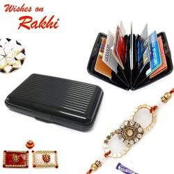 Black Aluminium Wallet with Beads Rakhi