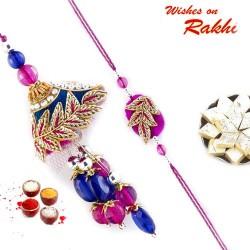 Blue and Fuschia Zardozi work Bhaiya Bhabhi Rakhi Set