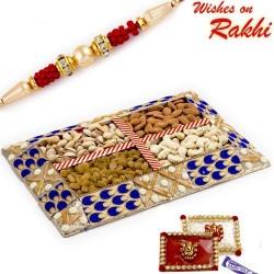 Blue and Gold Dryfruit Gift Pack with 1 Bhaiya Rakhi