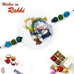 Blue and Green Beads Doremon Kids Rakhi