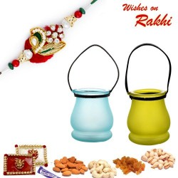 Blue and Green Crystal Containers with Assorted Dryfruits and Rakhi