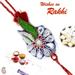 Blue and Green Floral Pattern Rakhi with Crystal Stones