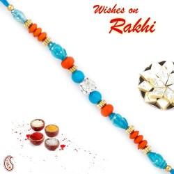 Blue and Orange Dual Shade Pretty Rakhi