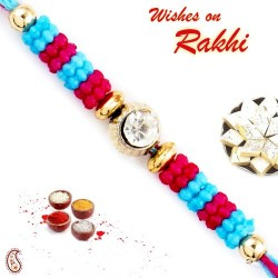 Blue and Pink Beads Thread Rakhi