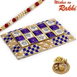 Blue and Silver Decorative Cover Chocolates with Rakhi