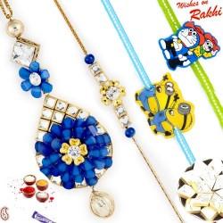 Blue and White crystal Beads Family Rakhi Set with 2 Kids Rakhis