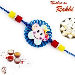 Blue Cut Work Smiley Motif Kids Rakhi
