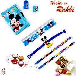 Blue Mickey Mouse Pouch Box and Rakhi Kids Hamper