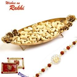 Boat Shape Gold Finish Tray with Dry Fruits and Rakhi Hamper