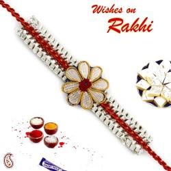 Bracelet style Golden Flower Zardosi Rakhi