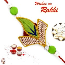 Bright Green Leaf Shape Zardozi Rakhi