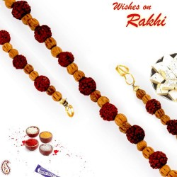Brown Beads and Rudraksh Embellished Bracelet Rakhi