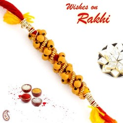 Brown Circular Beads Studded Thread Rakhi