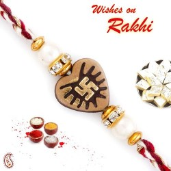 Brown Heart Shape Mauli Rakhi with Swastik Motif