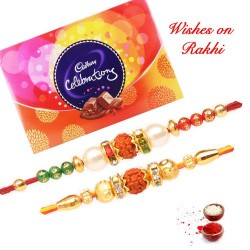 Cadbury Celebrations Box with Set of 2 Premium Rudraksh Rakhis