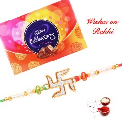 Cadbury Celebrations Box with Swastik Rakhi