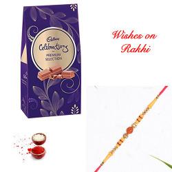 Cadbury Celebrations Premium Selection Pack with Rudraksh and AD Rakhi