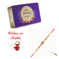Cadbury Celebrations Rich Dry Fruit Box with Rudraksh and AD Rakhi
