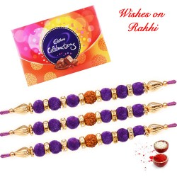 Cadbury Celebrations with Set of 3 AD Crystals and Beads Rakhis