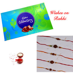 Cadbury Celebrations with Set of 5 Pearls and Rudraksh Rakhis