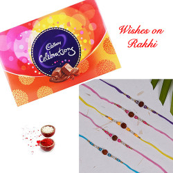 Cadbury Celebrations with Set of 5 Premium Handcrafted Rakhi