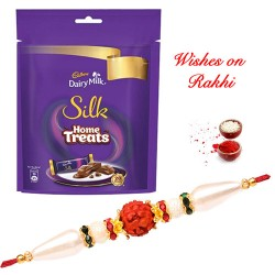 Cadbury Silk Home Treats with Traditional Rudraksh and AD Rakhi