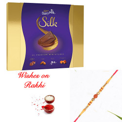 Cadbury Silk Miniatures Pack with Premium Rudraksh Rakhi