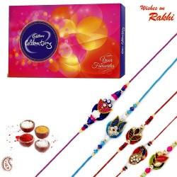 Cadburys Celebration Pack with Set of 5 Zardosi Rakhi
