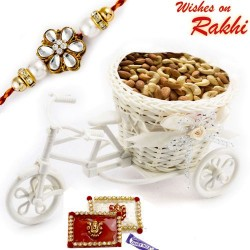Cane Cycle stand with Assorted Dryfruits and 1 Bhaiya Rakhi