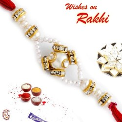Charming AD Studded Pearl Rakhi