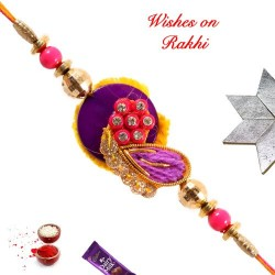 Charming Colored Beads and AD Rakhi