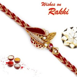 Charming Maroon Shade Rich Zardosi Rakhi