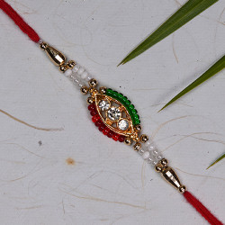 Charming Multicolor Beads with AD Stud Rakhi