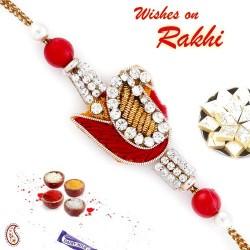 Charming Paisley Style Red Zardosi Rakhi