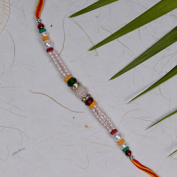 Charming Pearls and Multicolor Beads Rakhi