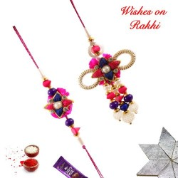 Charming Pearls Beads and AD Bhaiya Bhabhi Rakhi Set