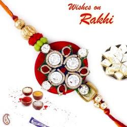 Charming Red Base AD Studded Rakhi