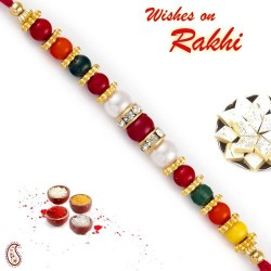Charming Round Beads Embellished Pearl Rakhi