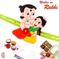 Chhota Bheem and Sister Motif Green Band Kids Rakhi