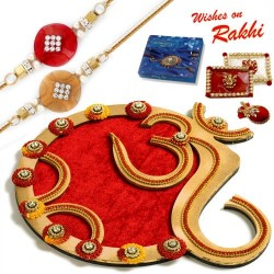 Classy Handcrafted Floral work Golden Rakhi Pooja Thali with Set of 2 Rakhis