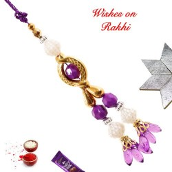 Colored Beads and Pearls Lumba Rakhi