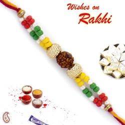 Colorful Beads Rudraksh Rakhi