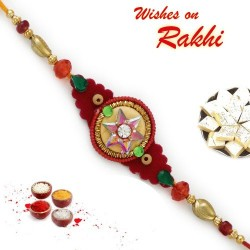 Colorful Crystal Star Zardosi Work Rakhi