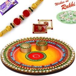 Colorful Crystal Stone Studded Round Rakhi Pooja Thali with Rakhi
