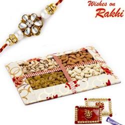 Contemporary Design Dryfruit Gift Pack with 1 Designer Rakhi
