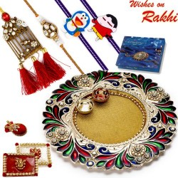 Contemporary Design Rakhi Pooja Thali with Family Rakhi Set