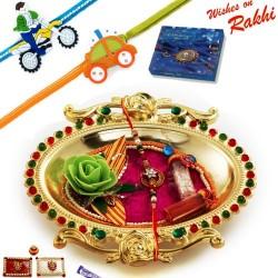 Crystal work Golden Colour Rakhi Thali Hamper with Set of 2 Kids Rakhis