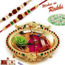Crystal work Golden Colour Rakhi Thali Hamper with Set of 2 Rakhis