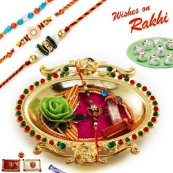 Crystal work Golden Colour Rakhi Thali Hamper with Set of 3 Mauli Rakhis