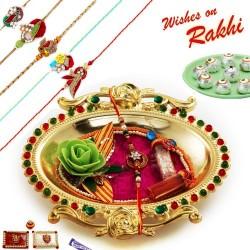 Crystal work Golden Colour Rakhi Thali Hamper with Set of 5 Zardosi Rakhis